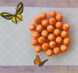 10 stuks Keramische glaskralen  10mm orange