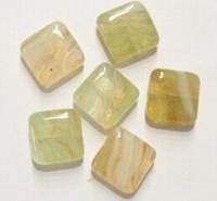 10 stuks Glaskraal plat vierkant transparant 10 x 4mm