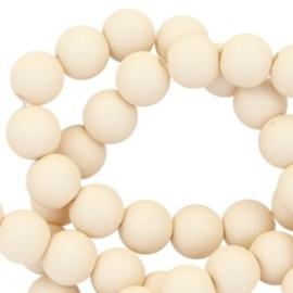 20 stuks Acryl kralen mat rond 6mm Silk beige gat c.a.1mm