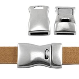 DQ metaal magneetslot 23 x 13mm (Ø 10x2.5mm) Antiek zilver (nikkelvrij)