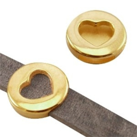 1 x DQ metaal schuiver rond met hart (DQ leer plat 10mm) Goud