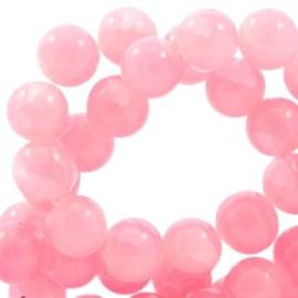 20 x Crackled opal glaskralen 8 mm Rose pink