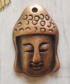 Per stuk DQ metaal hanger buddha hoofd rood koper c.a. 19 x 19mm
