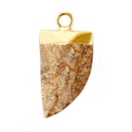 1 x Natuursteen hangers tand Porcini brown-gold