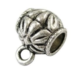10 x Tibetaans zilveren bails hanger 10mm  Ø 5mm oogje: 2,5mm