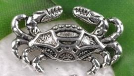 10x Tibetaans zilveren bedel van een krab 13 x 20mm