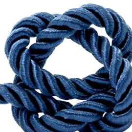 1 rol met 5 meter trendy koord weave c.a. 10mm Royal blue (kies voor pakketpost)