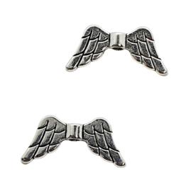 10 x  Tibetaans zilveren Engelen vleugeltje 20 x 9 x 3mm gat 1mm