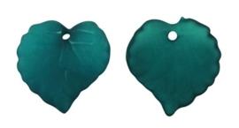 10 stuks acryl bloem bladeren 16 x 15 x 2mm gat: 1,2mm turquoise frosted