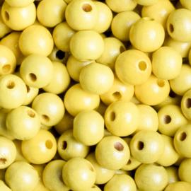 20 x Houten kraal  8mm kleur: geel gat: 2mm
