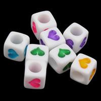 20 stuks tussen letterkraal wit vierkant met hart mix per  6 x 6mm gat: 3mm