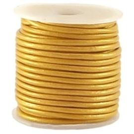 50cm DQ Leer rond 2 mm Metallic mosterd geel