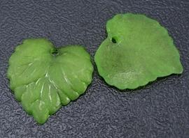 10 stuks acryl bloem bladeren 16 x 15 x 2mm gat: 1,2mm groen frosted
