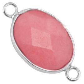 1x Half edelsteen tussenstukken ovaal Coral pink - silver 13x18 mm