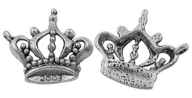 6 x Tibetaans zilveren bedeltje van een kroon 19 x 21mm