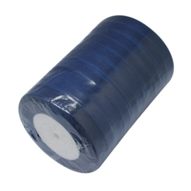 5  meter Organza lint 10mm breed per meter, Donker blauw