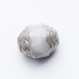 10 x Glas facet kraal 6 x 7mm kleur: licht grijs zilverkleur gat: 1mm