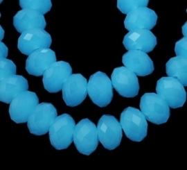 Streng met c.a. 72 stuks electroplated briolette kristal kraal 10 x 8mm gat 1mm Jade Blauw