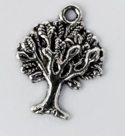 5x Tibetaans zilveren bedels van een boom 21,3 mm x 16,5 mm