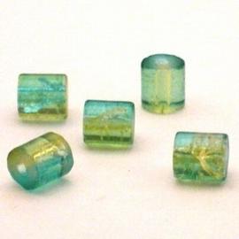 30 stuks crackle glas kralen cilinder vorm 7 x 8mm licht blauw geel