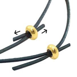2 x    DQ metaal kraal macramé slot disc 7x3mm Goud (nikkelvrij)  (Ø2mm)