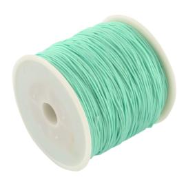 1 rol 90 meter gevlochten nylon koord, imitatie zijden draad 0,8mm aquamarine