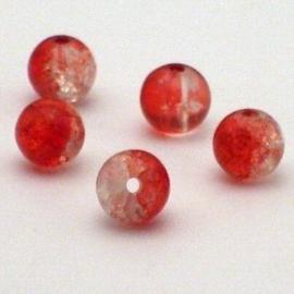 30  stuks crackle glas kralen 8mm rood transparant