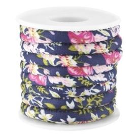 20 cm Trendy gestikt koord bloemetjes 5.5x4mm Donkerblauw