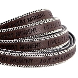 20 cm Quote imi leer 10mm met schakelketting zilver Love life Dark chocolate brown ♥