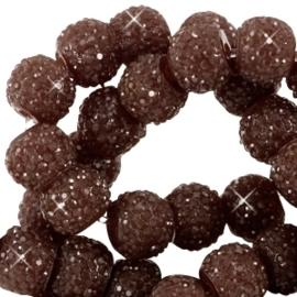 10 stuks Sparkling beads 8mm Donker Bruin