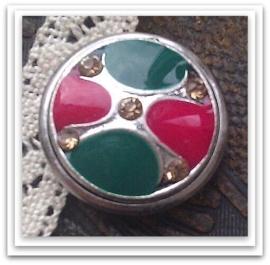 Per stuk Mooie Metalen zilveren drukker met gele strass en groen/roze epoxy 18 mm