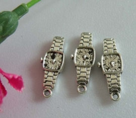 5 x tibetaans zilveren bedeltje van een horloge 24 x 9 x 3mm gat: 2mm