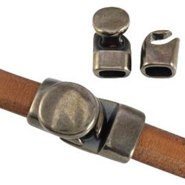 DQ metaal sluiting (voor Divino leer/koord) Zilver antraciet (nikkelvrij)