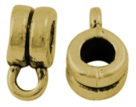 10 x Tibetaans zilveren kleine bails hanger 9 x 4mmm Ø2mm, het oogje is: c.a.1mm Antiek Goud kleur