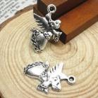 2 x Tibetaans zilveren Engelen hanger 29 x 35 x 3mm gat: c.a. 1,5mm