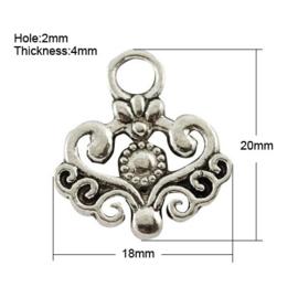4 x prachtige Tibetaans zilveren bedel 20 x 18 x 2mm Gat: 4mm