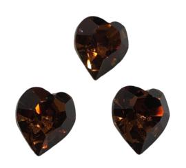 2x Precosia kristal in de vorm van een hart Bruin 10 mm