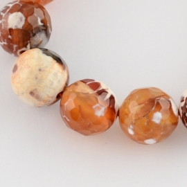 10 keer kraal van Facet Colored Natural Fire Agate 8mm gat: 1mm Chocolat