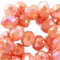 10 Stuks Glaskraal facet rondel met diamond coated zacht Oranje 6 x 4mm