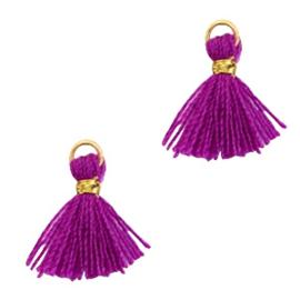 3 x Kwastjes 1cm Goud-Electric purple violet