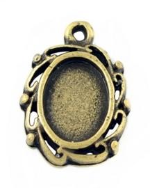 3 x Houder B: Prachtige Camée of Cabochon houder geel koper kleur (Mini). Binnenzijde: 9 x 6mm