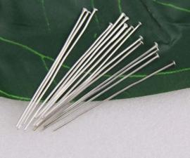 100 stuks verzilverde nietstiften 45mm dik: dik: 0,7mm