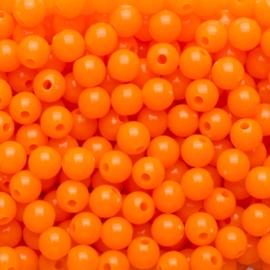 20 x Acryl neon kraal Oranje; Ø 6 mm, Gat 1,6 mm