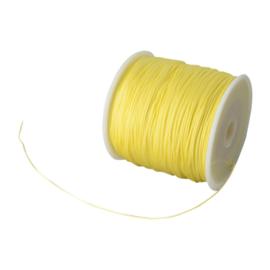 1 rol 90 meter gevlochten nylon koord, imitatie zijden draad 0,8mm champagne yellow