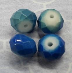 1 x facetkraal glaskraal blauw/licht blauw 8 mm Gat 1 mm