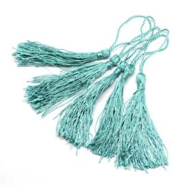 Satijn kwast lengte kwast 9 cm incl. lus 130 x 6mm Turquoise