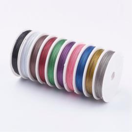10 rollen mix assortiment gecoat sieraden draad 50 meter per rol 0,45mm (Totaal 500 meter)