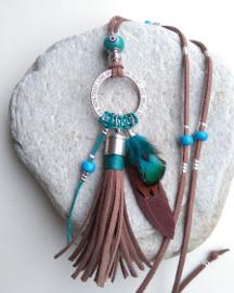 Ibizastyle ketting bruin /blauw ♥