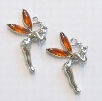 5 x Zilverkleurig metalen elfje met oranje emaille 30 x 15mm