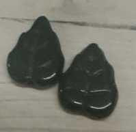 10 Stuks zwarte glaskralen in de vorm van een blaadje 12mm gat 1 mm